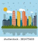 smart city design  | Shutterstock .eps vector #381475603