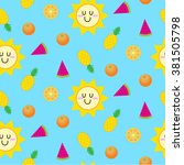 summer seamless pattern vector | Shutterstock .eps vector #381505798