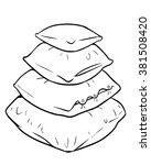 vector cartoon pile of pillows | Shutterstock .eps vector #381508420