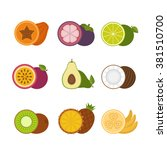 tropical fruits icon set. flat... | Shutterstock .eps vector #381510700