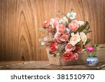 roses flower in wooden box and... | Shutterstock . vector #381510970