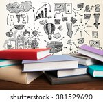 many books lying closed. | Shutterstock . vector #381529690
