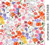floral seamless pattern with... | Shutterstock .eps vector #381534688