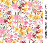 floral seamless pattern with... | Shutterstock .eps vector #381534694