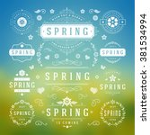 spring typographic design set.... | Shutterstock .eps vector #381534994
