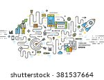 flat style  thin line business... | Shutterstock .eps vector #381537664