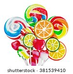 colorful candies and lollipops... | Shutterstock . vector #381539410