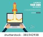 flat design concept for startup ... | Shutterstock .eps vector #381542938