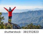 successful woman traveler in... | Shutterstock . vector #381552823