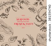 vector hand drawn seafood set   ... | Shutterstock .eps vector #381554740