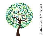 vector illustration of tree on... | Shutterstock .eps vector #381555574