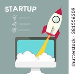 infographic rocketship for... | Shutterstock .eps vector #381556309