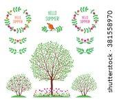 hello summer. summer  spring...   Shutterstock . vector #381558970