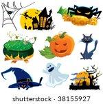 halloween icons set | Shutterstock .eps vector #38155927