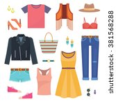 set of woman casual clothes... | Shutterstock .eps vector #381568288