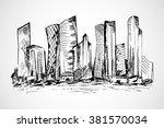 hand drawn horizontal scene of... | Shutterstock .eps vector #381570034