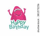 monster birthday. vector... | Shutterstock .eps vector #381573256