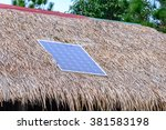 solar cell on thatched roof for ... | Shutterstock . vector #381583198