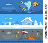 natural disaster 3 flat... | Shutterstock .eps vector #381588520