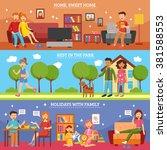three flat horizontal family... | Shutterstock .eps vector #381588553