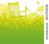rocking chair in an overgrown... | Shutterstock .eps vector #381593038