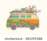 hippie vintage car a mini van....