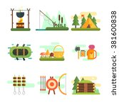 tourist summer equipment.... | Shutterstock .eps vector #381600838