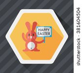 easter bunny flat icon with... | Shutterstock .eps vector #381604504