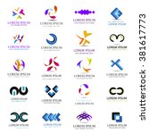 business icons set isolated on... | Shutterstock .eps vector #381617773