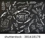 vector floral set. graphic... | Shutterstock .eps vector #381618178