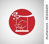 bird swinging on a branch icon | Shutterstock . vector #381636604