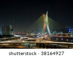 night landscape of a beautiful Bridge in Sao Paulo, Brazil