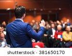 public speaker giving talk at... | Shutterstock . vector #381650170