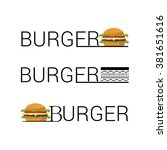 set of burger shop icon logo... | Shutterstock .eps vector #381651616
