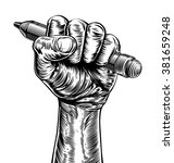A Hand In A Fist Holding A...