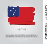 samoa flag with colored hand... | Shutterstock .eps vector #381661399