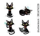Stock vector black cat vector set sitting sleeping cat and phone and computer cartoon animals icons 381676228