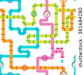seamless multicolored pipelines ... | Shutterstock .eps vector #381684280
