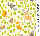 Cute Animals Seamless Pattern....