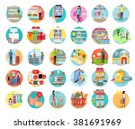 people in supermarket interior... | Shutterstock .eps vector #381691969