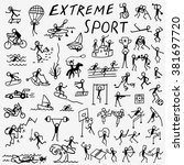 extreme sports doodles  | Shutterstock .eps vector #381697720
