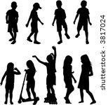 silhouettes chlilndrens | Shutterstock .eps vector #3817024
