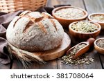 whole grain bread with seeds of ... | Shutterstock . vector #381708064