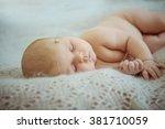 newborn baby sleeps | Shutterstock . vector #381710059