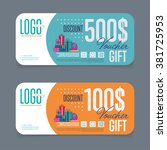 gift voucher template with... | Shutterstock .eps vector #381725953