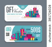 gift voucher template with... | Shutterstock .eps vector #381726028