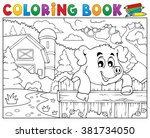 coloring book pig behind fence... | Shutterstock .eps vector #381734050