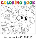 coloring book lurking sheep... | Shutterstock .eps vector #381734113