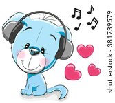 cute cartoon dog with... | Shutterstock . vector #381739579