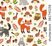 seamless cute pattern. forest... | Shutterstock .eps vector #381745258